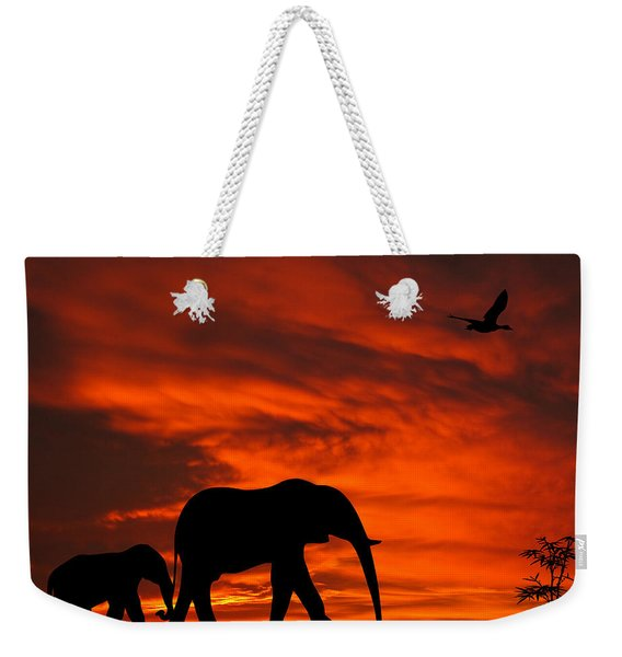 Mother And Baby Elephants Sunset Silhouette Series Weekender Tote Bag
