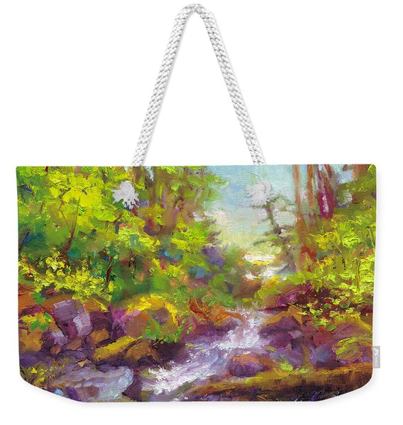 Weekender Tote Bag featuring the painting Mother's Day Oasis - Woodland River by Talya Johnson