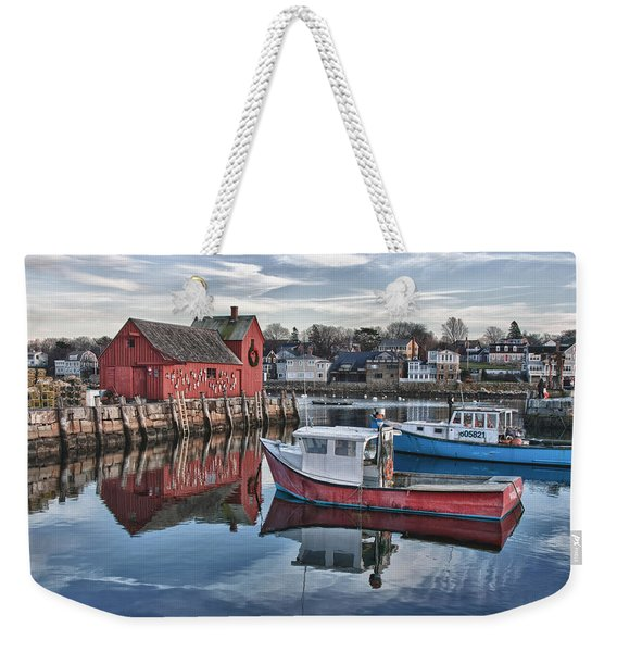 Weekender Tote Bag featuring the photograph Motif 1 Sky Reflections by Jeff Folger