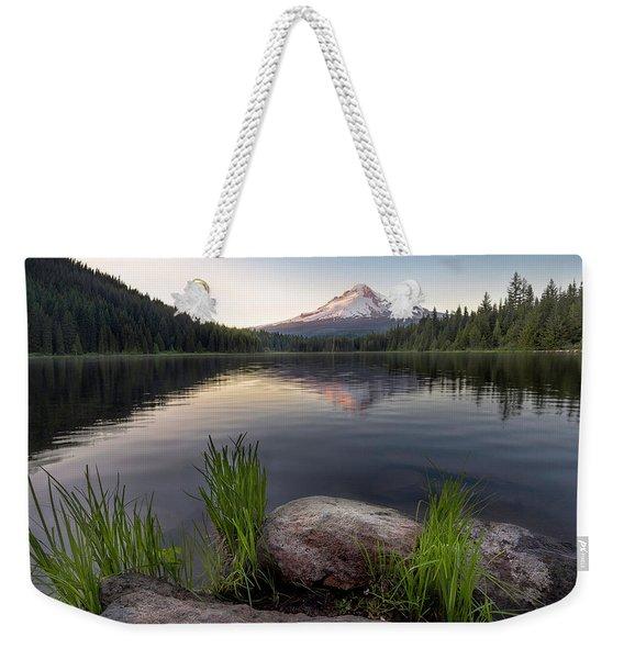 Mount Hood Reflected On Trillium Lake Weekender Tote Bag