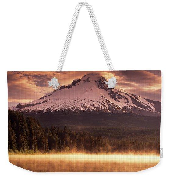 Mount Hood Towers Above Trillium Lake Weekender Tote Bag