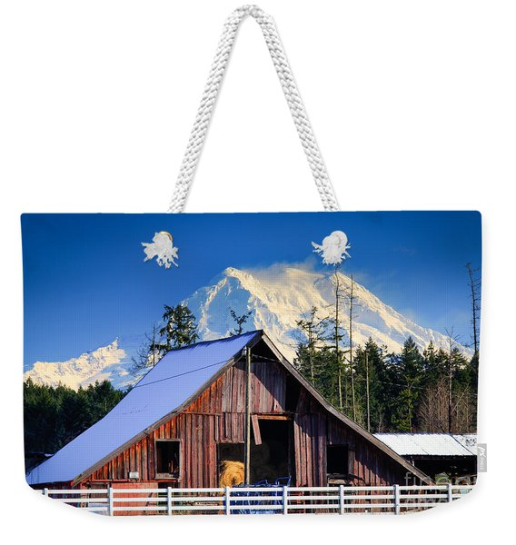 Mount Rainier And Barn Weekender Tote Bag