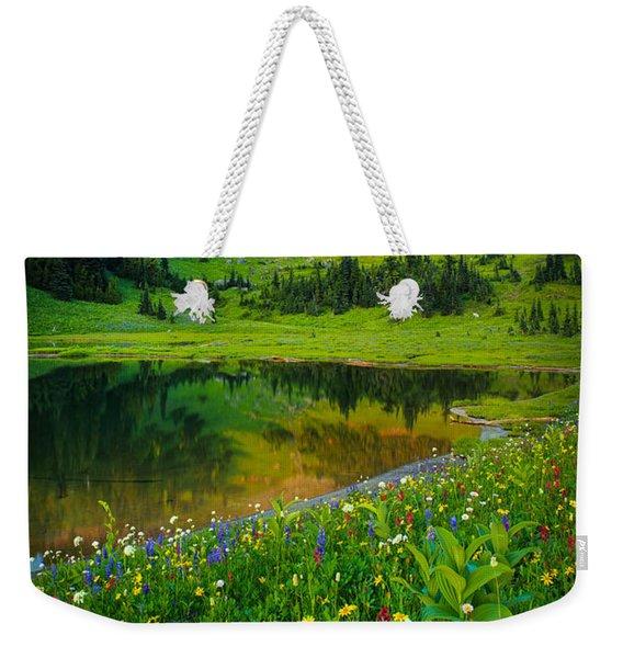 Mount Rainier Lake Weekender Tote Bag