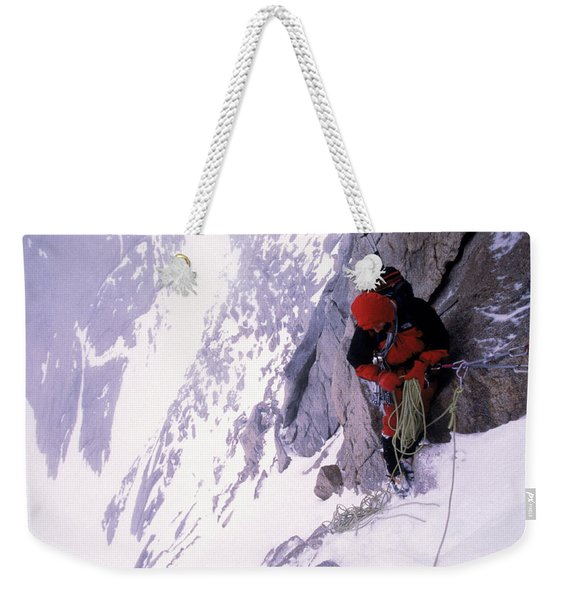 Mountain Climber Repels Down Snowy Weekender Tote Bag