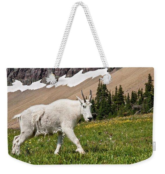 Mountain Goat Walking Beneath A Talus Slope Weekender Tote Bag