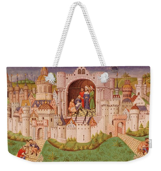 View Of A City With Laborers Paving Roads Leading Up To The City Gates With Cobbles Weekender Tote Bag