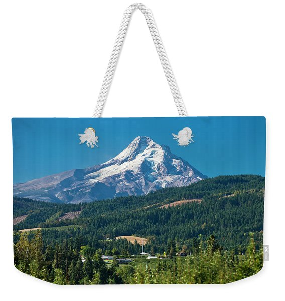Mt. Hood Is Seen On A Sunny Day Weekender Tote Bag