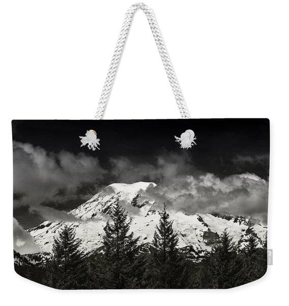 Mt Rainier Panorama B W Weekender Tote Bag