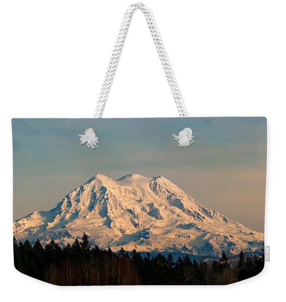 Mt Rainier Winter Panorama Weekender Tote Bag