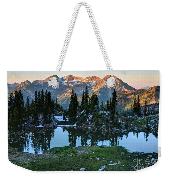 Mt. Timpanogos At Sunrise From Silver Glance Lake Weekender Tote Bag