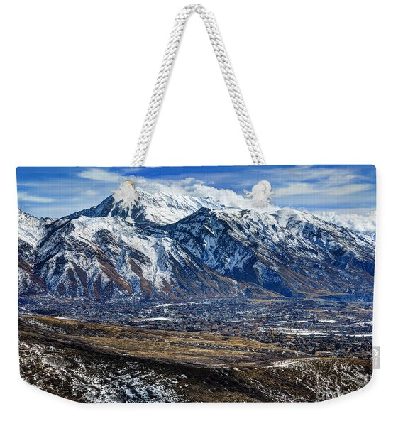 Mt. Timpanogos In Winter From Utah Valley Weekender Tote Bag