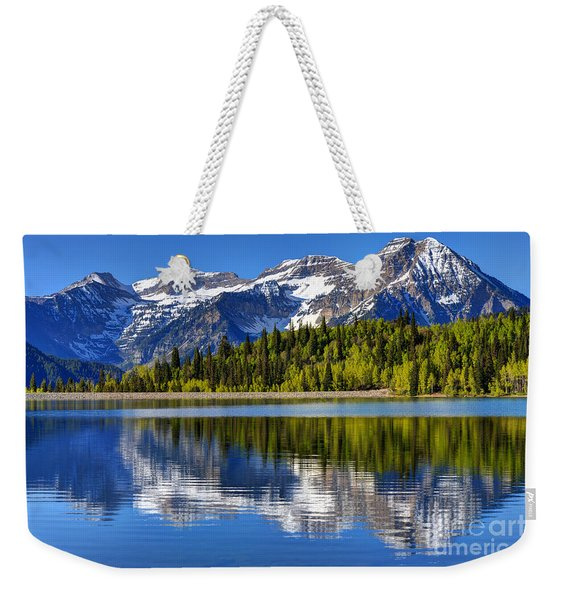Mt. Timpanogos Reflected In Silver Flat Reservoir - Utah Weekender Tote Bag