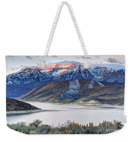Mt. Timpanogos Winter Sunrise Weekender Tote Bag
