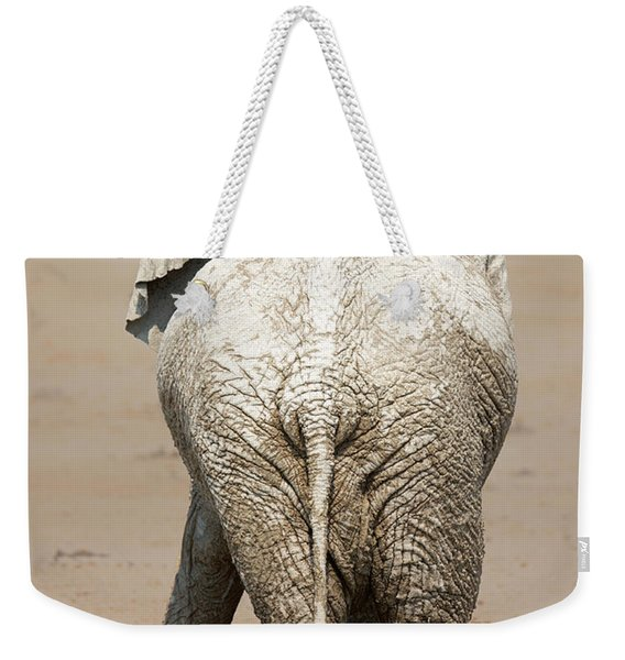 Muddy Elephant With Funny Stance  Weekender Tote Bag