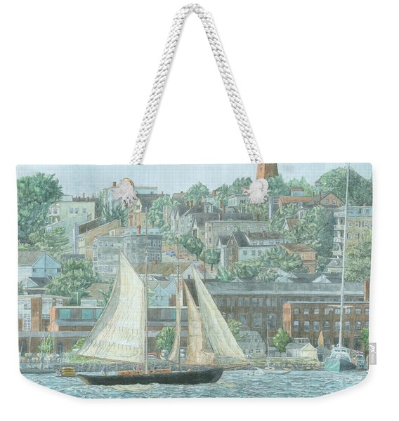 Weekender Tote Bag featuring the drawing Munjoy Hill by Dominic White
