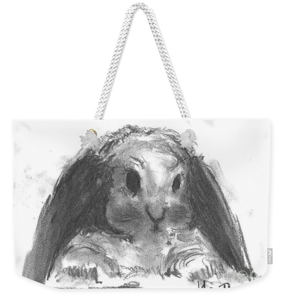 Weekender Tote Bag featuring the drawing My Baby Bunny by Laurie Lundquist