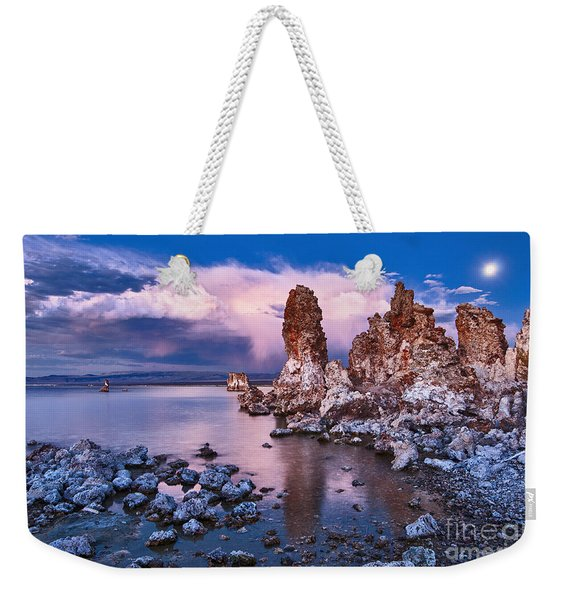 Mysterious Mono - Moonrise Night View Of The Strange Tufa Towers Of Mono Lake. Weekender Tote Bag
