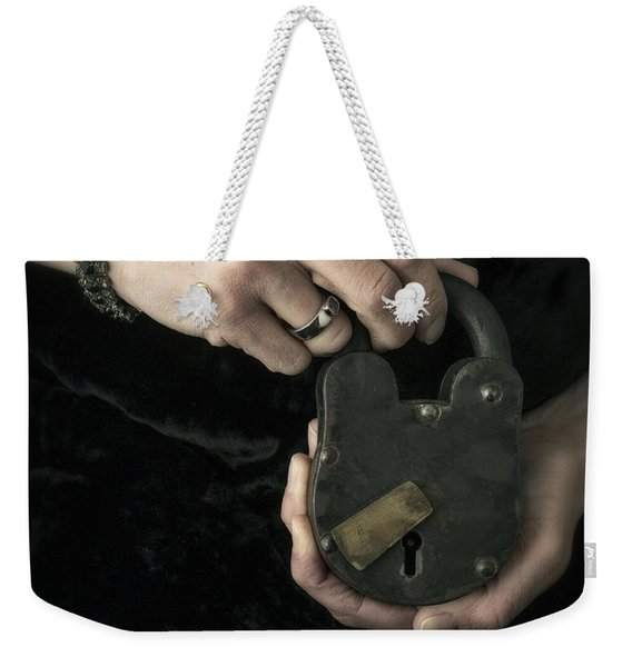 Mysterious Woman With Lock Weekender Tote Bag