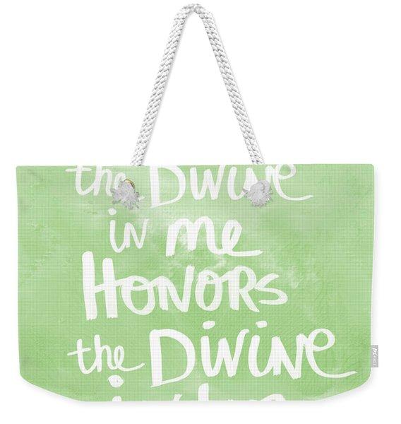 Namaste Green And White Weekender Tote Bag