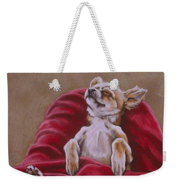 Weekender Tote Bag featuring the pastel Nap Hard by Barbara Keith