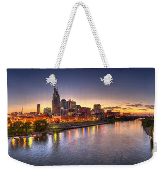 Nashville Skyline Panorama Weekender Tote Bag