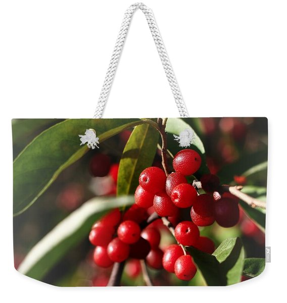 Weekender Tote Bag featuring the photograph Natures Gift Of Red Berries by Jeremy Hayden