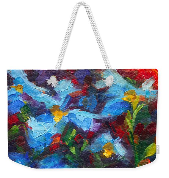 Weekender Tote Bag featuring the painting Nature's Palette - Himalayan Blue Poppy Oil Painting Meconopsis Betonicifoliae by Talya Johnson