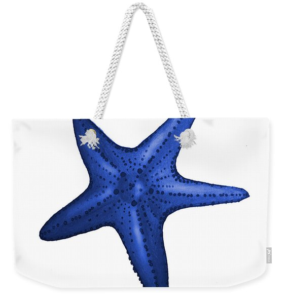 Nautical Blue Starfish Weekender Tote Bag