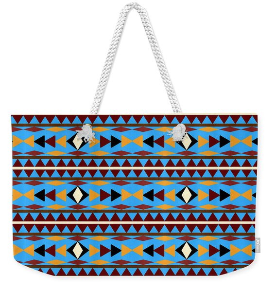 Navajo Blue Pattern Weekender Tote Bag
