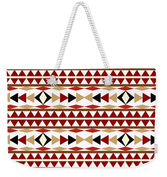Navajo White Pattern Weekender Tote Bag