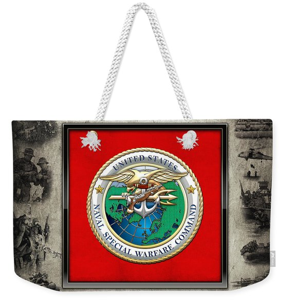 Naval Special Warfare Command - N S W C - Emblem  Over Navy Seals Collage Weekender Tote Bag