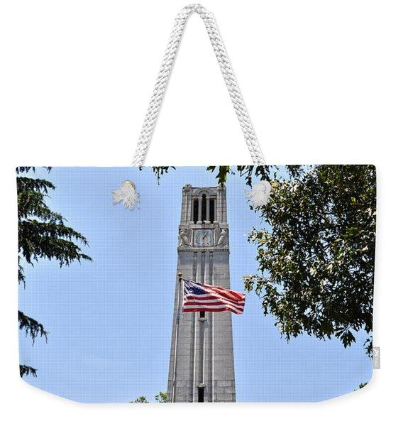 Nc State Memorial Bell Tower And Us Flag Weekender Tote Bag