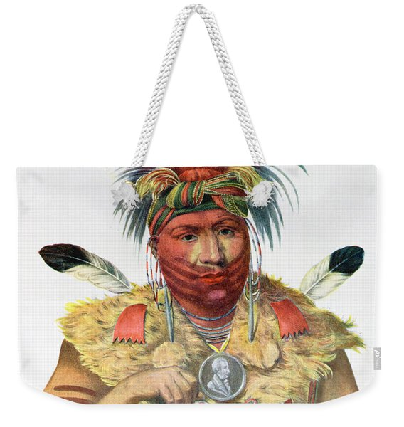 Ne-sou-a-quoit, A Fox Chief, Illustration From The Indian Tribes Of North America, By Thomas L Weekender Tote Bag