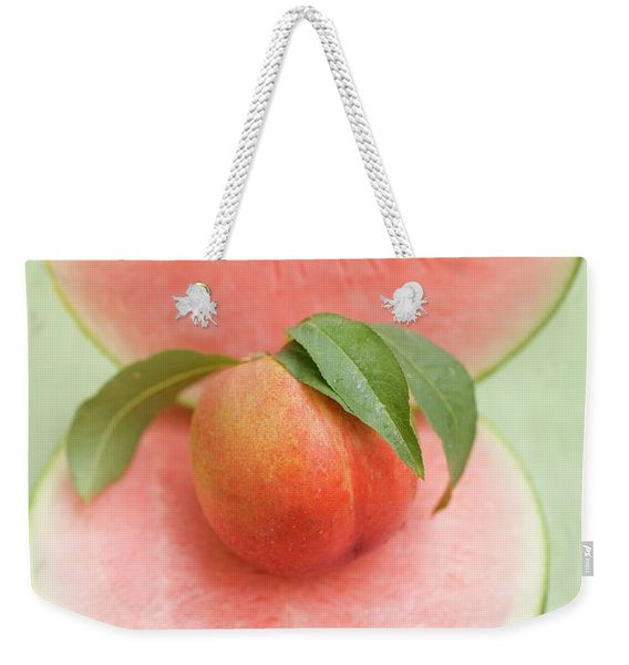 Nectarine With Leaves, Slice And Wedge Of Watermelon Weekender Tote Bag