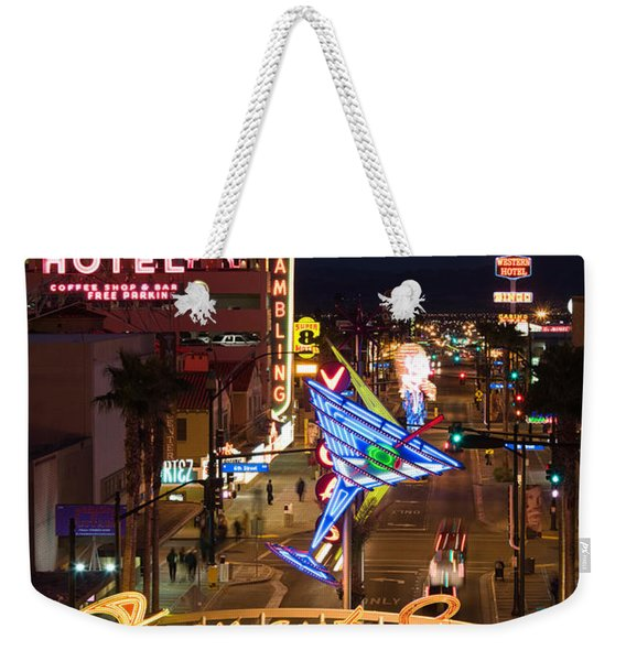 Neon Casino Signs Lit Up At Dusk, El Weekender Tote Bag