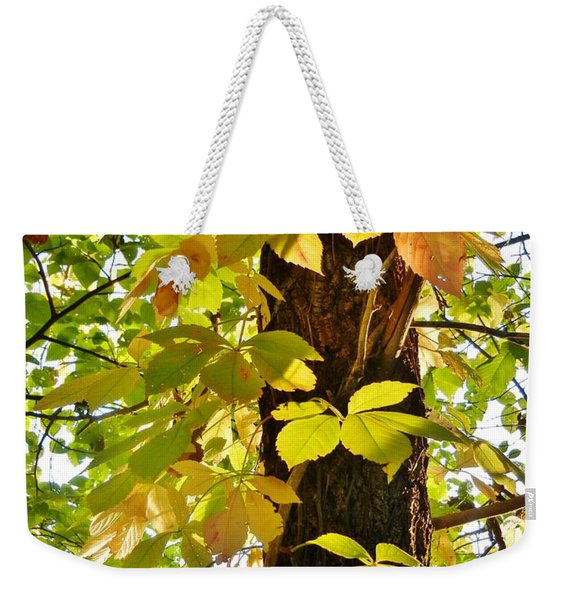 Neon Leaves Weekender Tote Bag