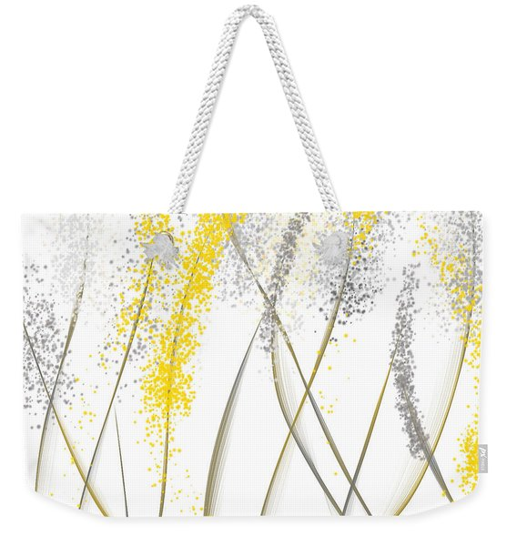 Neutral Sunshine - Yellow And Gray Modern Art Weekender Tote Bag