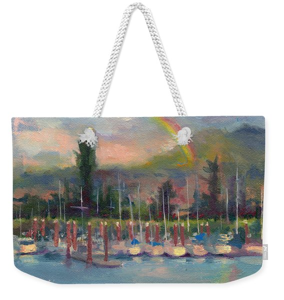 Weekender Tote Bag featuring the painting New Covenant - Rainbow Over Marina by Talya Johnson