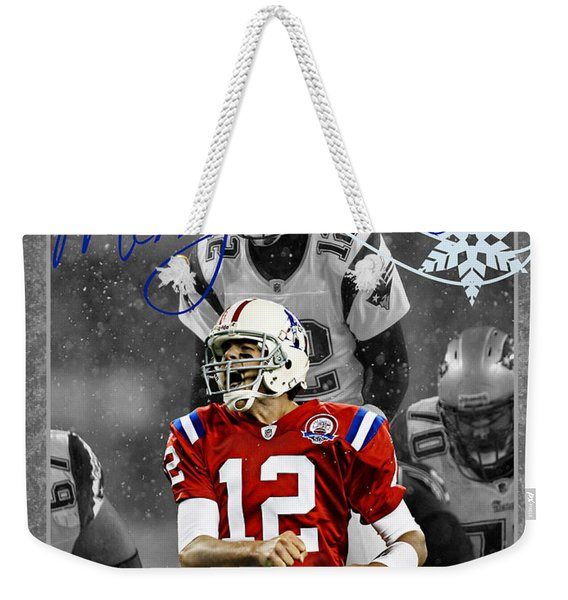 New England Patriots Christmas Card Weekender Tote Bag