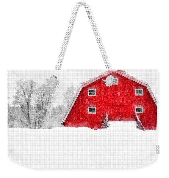 New England Red Barn In Winter Snow Storm Watercolor Weekender Tote Bag