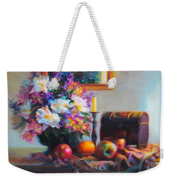 Weekender Tote Bag featuring the painting New Reflections by Talya Johnson