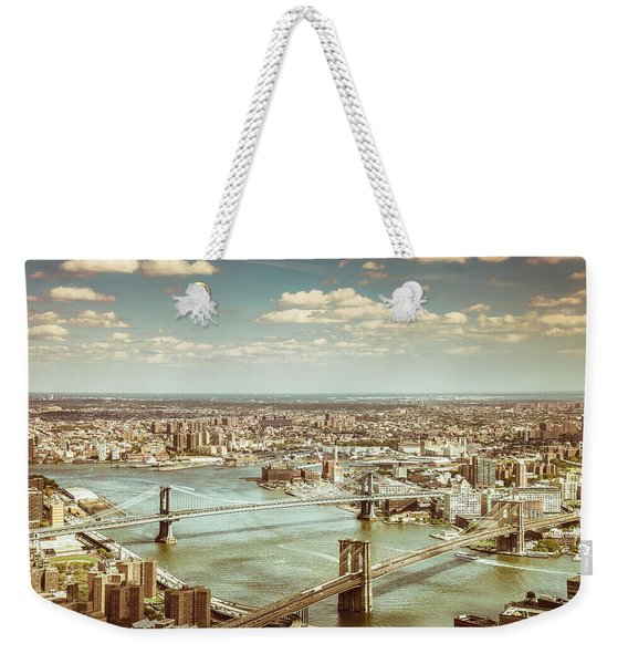 New York City - Brooklyn Bridge And Manhattan Bridge From Above Weekender Tote Bag