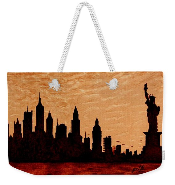 New York City Sunset Silhouette Weekender Tote Bag