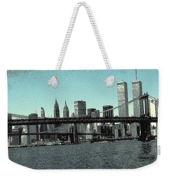 New York Downtown Manhattan Skyline - Blue Panorama Weekender Tote Bag