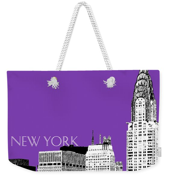 New York Skyline Chrysler Building - Purple Weekender Tote Bag