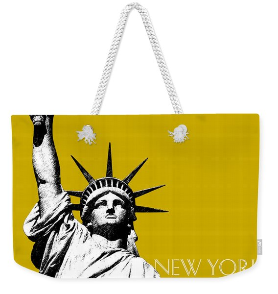 New York Skyline Statue Of Liberty - Gold Weekender Tote Bag