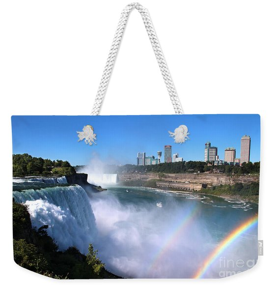Weekender Tote Bag featuring the photograph Niagara Falls Double Rainbow by Jemmy Archer
