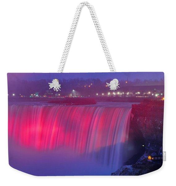 Niagara Falls Pretty In Pink Lights. Weekender Tote Bag