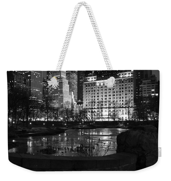Night Central Park Lake H Weekender Tote Bag
