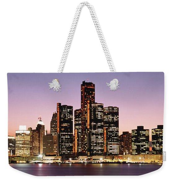 Night Skyline Detroit Mi Weekender Tote Bag